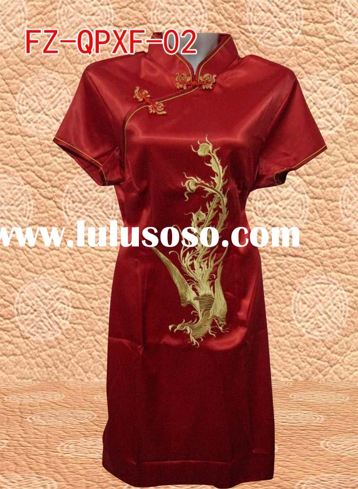 Chinese Cheongsam dress phoenix embroidery Classical design