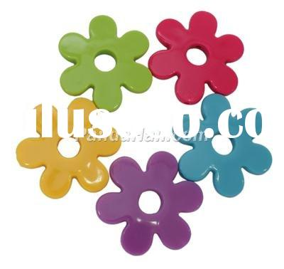Colorful Acrylic Beads, Flower, Mixed Color, about 40mm long, 45mm wide, 6mm thick, hole: 2mm, about