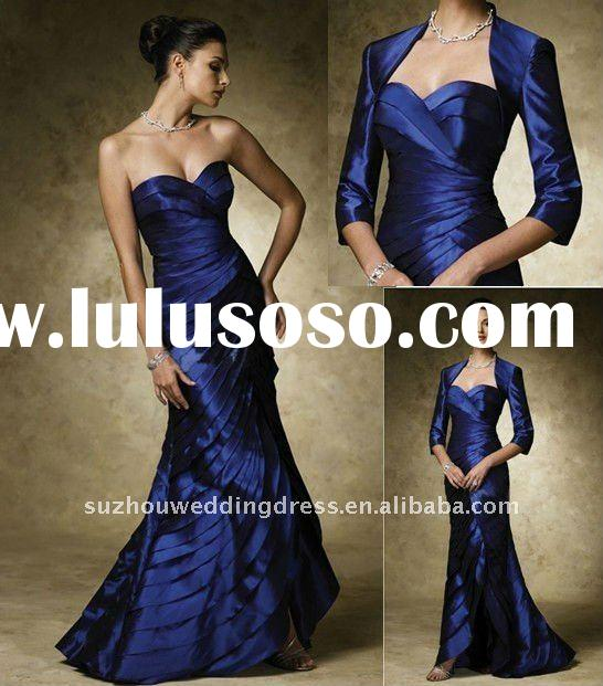 ED114 ruffled design fashion evening gown with short sleeves jacket