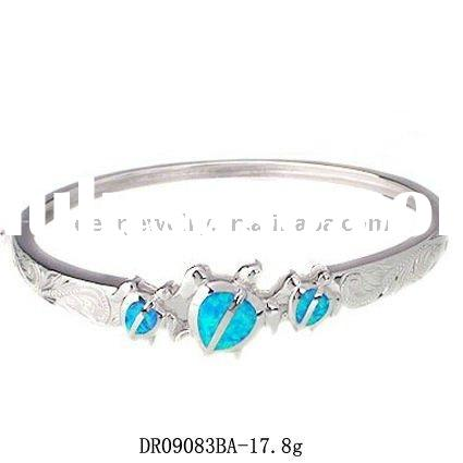 Hawaiian!! 2011 summer wholesale silver blue opal bangles jewelry OEM and ODM DR09084BA Pay by PayPa