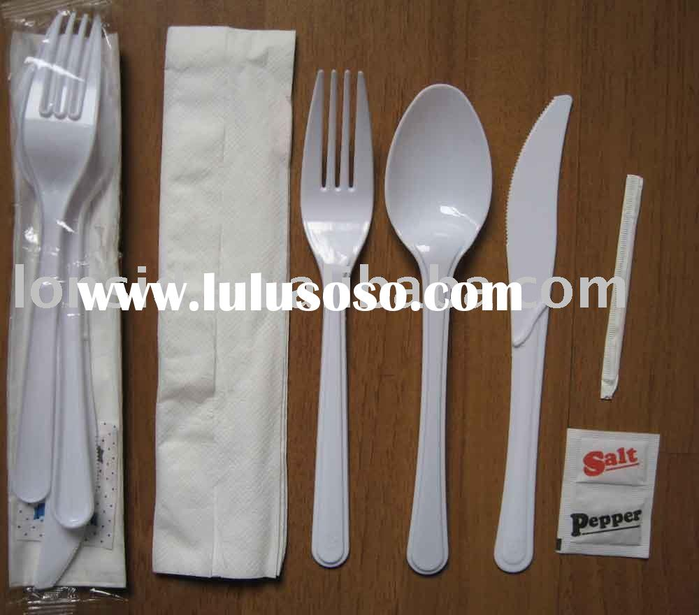 Heavy Duty Plastic Cutlery Sets forks knives spoons napkin