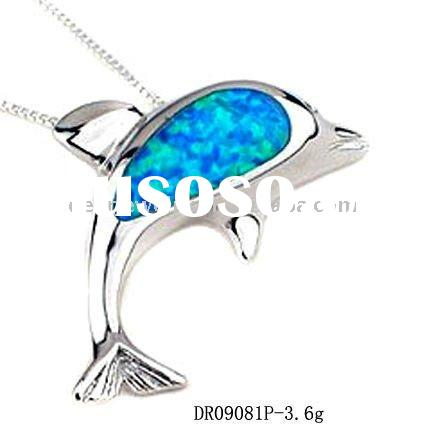 Hot sale !! Hawaiian Silver Opal Pendant, Opal dolphin Jewelry DR09080P Accepet PayPal