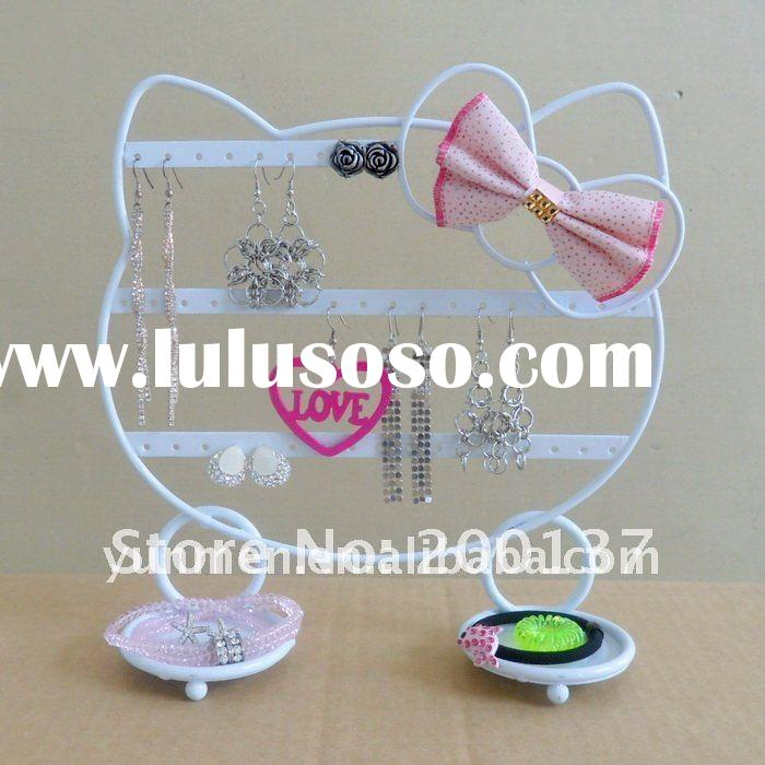 JD024B white HELLO KITTY metal Iron Jewelry Display Stand holder earring stand