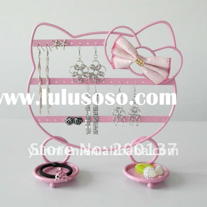 JD024F- PINK HELLO KITTY metal Iron Jewelry Display Stand holder earring stand