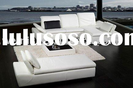 Modern design metal base corner white real leather sofa with long couch H1063
