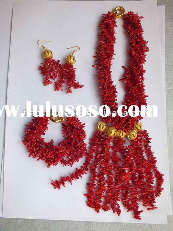 New Design Coral Jewelry Set chip bead red coral necklace and earring bracelet set