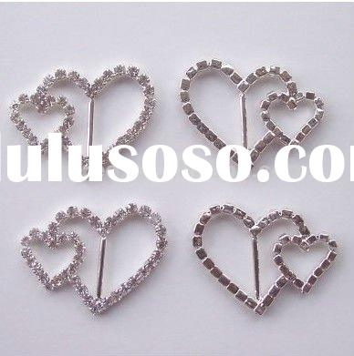 New design heart rhinestone slide buckle pin