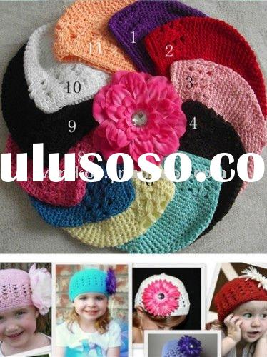 Newborn Baby Crochet Beanie Kufi Hats with Peony Flower