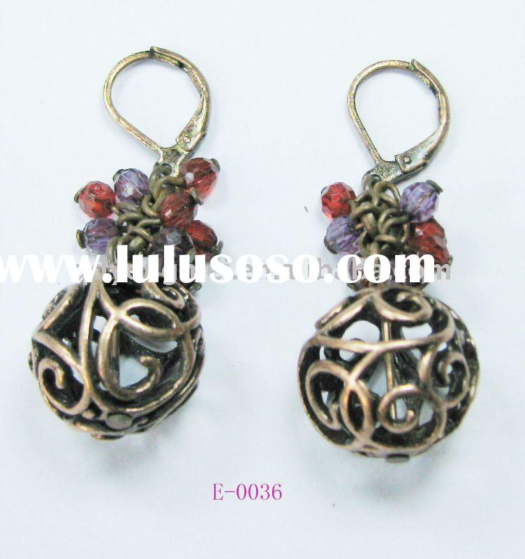 Nickel and lead safe copper plated alloy ball earrings 2012 design