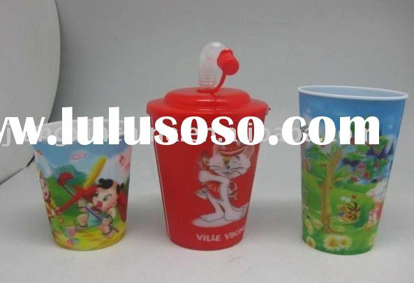 Plastic cup with lid straw of 3D design changing