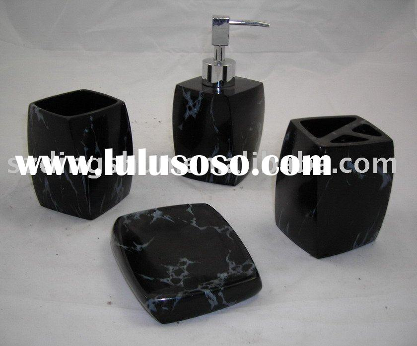 Pretty Black Marble texure Resin Bathroom Accessory set