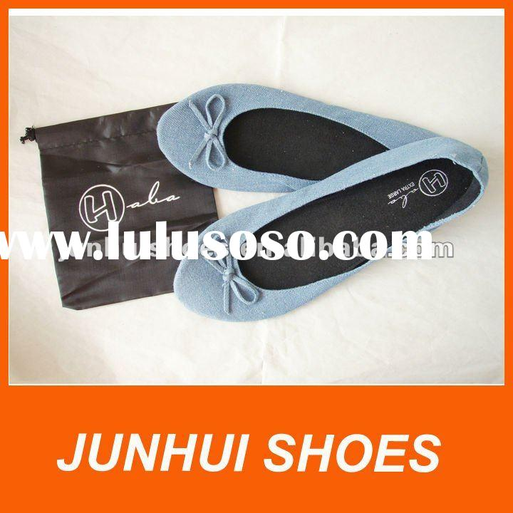 Rolla shoes/Rollable flats shoes/After party shoes-Jean with nylon bag