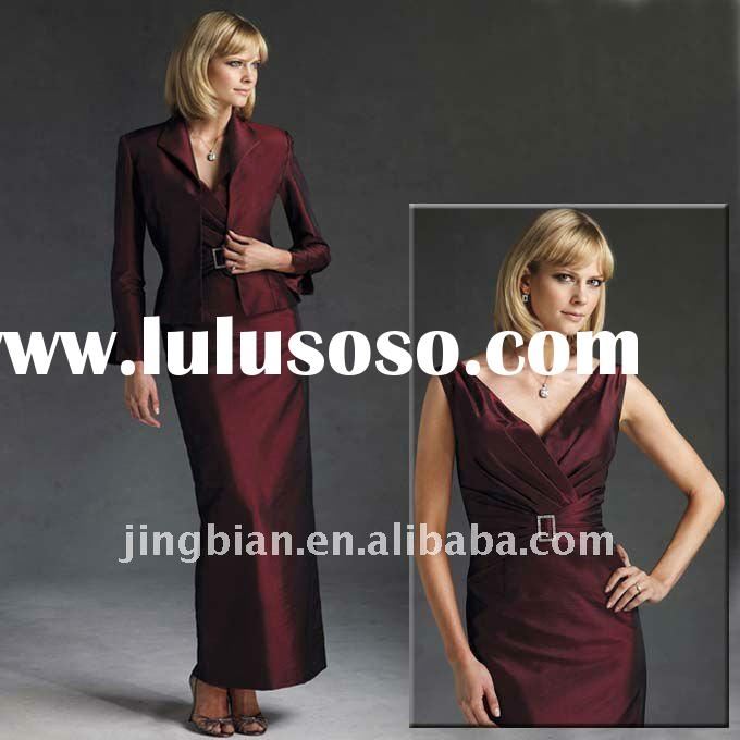 Ruffled Burgundy Color Mother Evening Dress With A Jacket VMB189