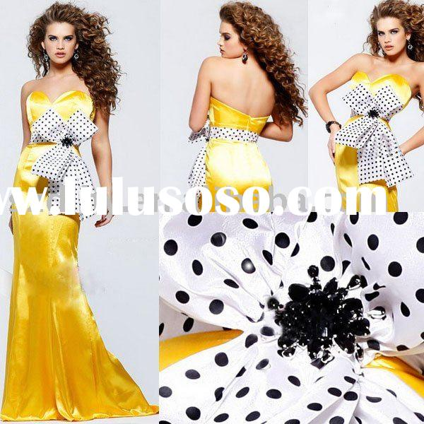 Sell 2010 New style Sweetheart Mermaid Evening dress with a Bow in black and white SYF-6900