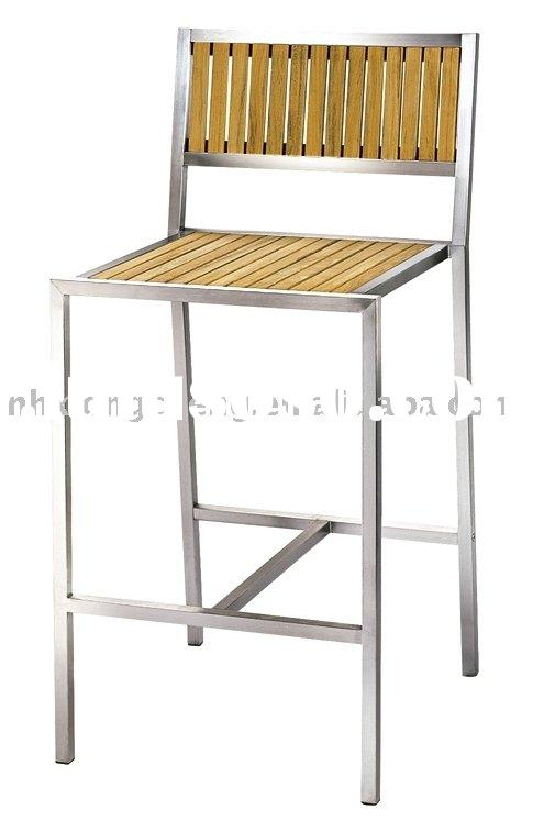 Stackable design stainless steel teak bar chair for outdoor use