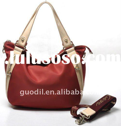 Summer collection!2012 Nylon with leather lady fashion handbags in the factory price