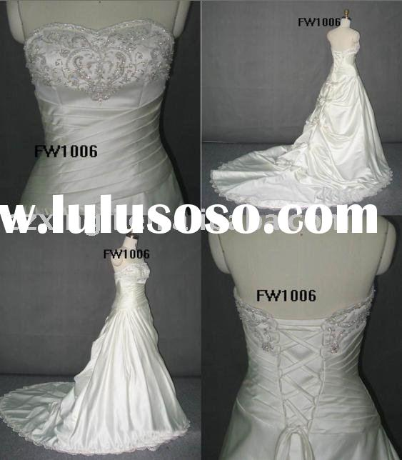 Top brands designed 2012 Ball Gown Chapel Train Satin with Beading and Lace Bridal Dress