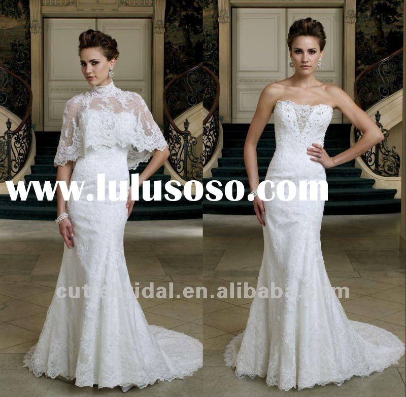 Two pieces lace slim Chinese A line wedding dresses
