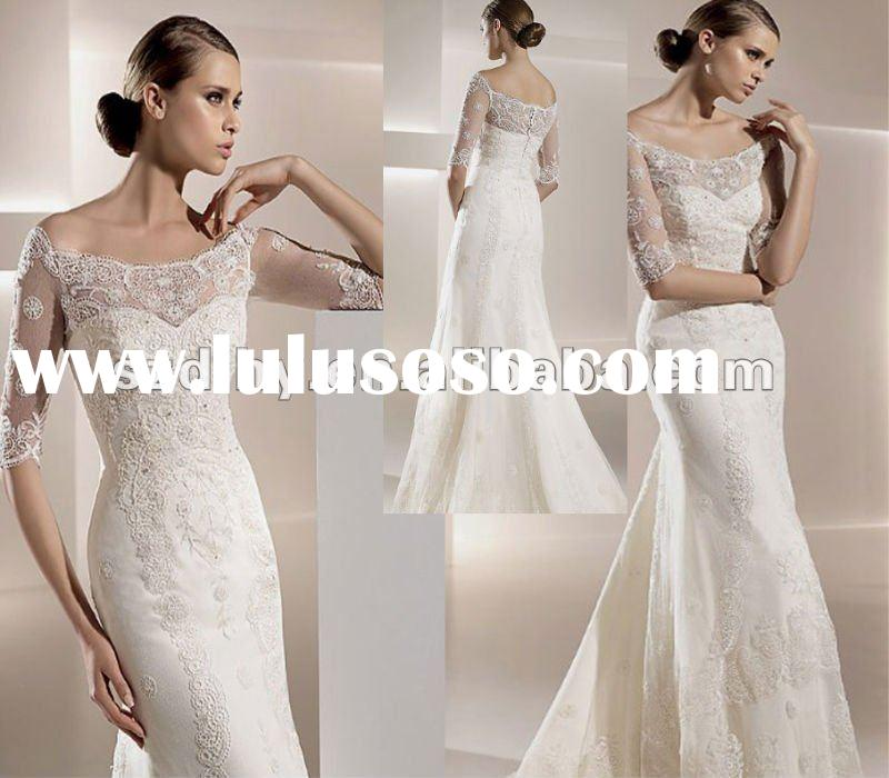 UW130&Sell Stunning Unique Top Quality Long sleeve mermaid lace wedding dress 2012