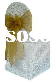 White banquet chair covers for wedding & Organza sash