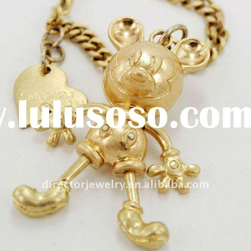 Wholesale new coming elegant alloy mickey mouse gold bracelet