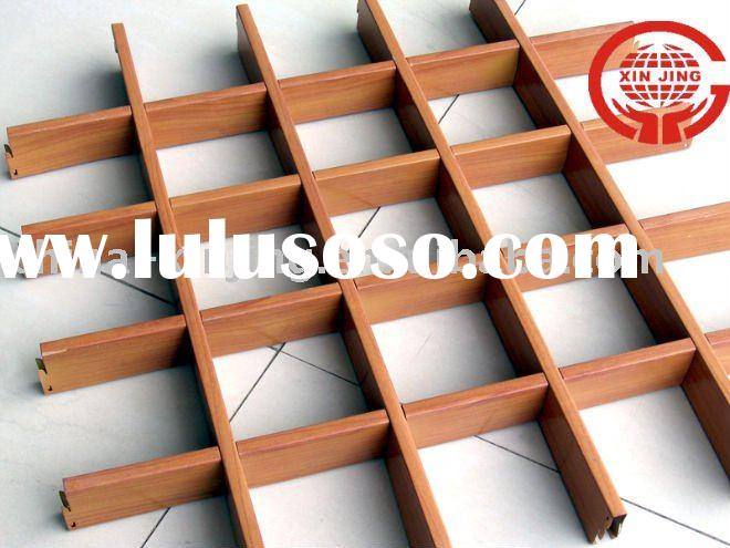 Wood grain aluminum cell grid ceiling