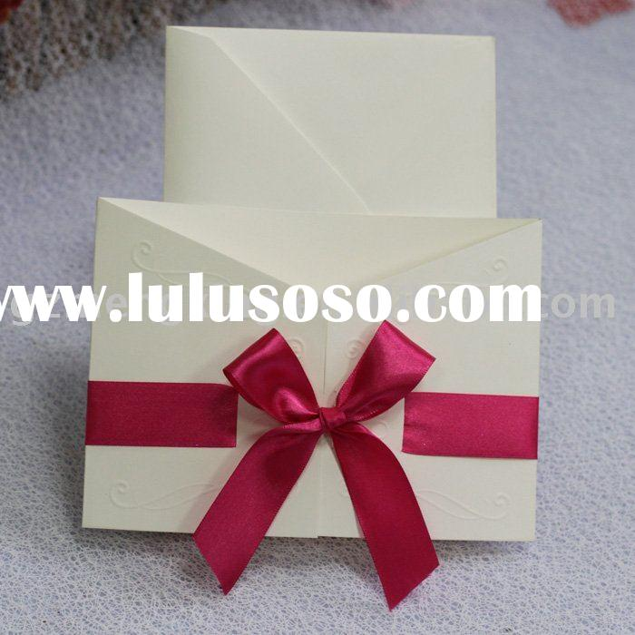 bardian wedding invitation cards/wedding cards with red ribbon -- W098
