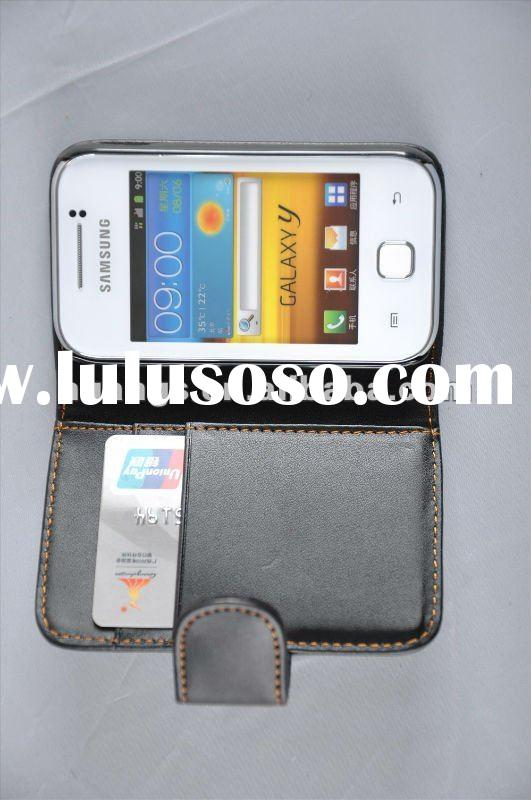 black wallet leather case for samsung galaxy y s5360