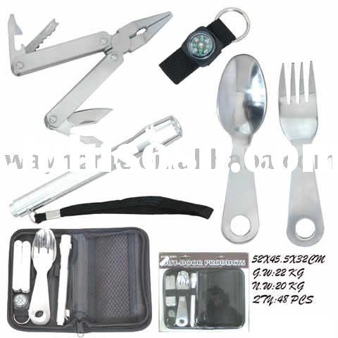 camping hiking hunting fishing outdoor travel adventurre tool set kit,promotion gifts,boy girl scout