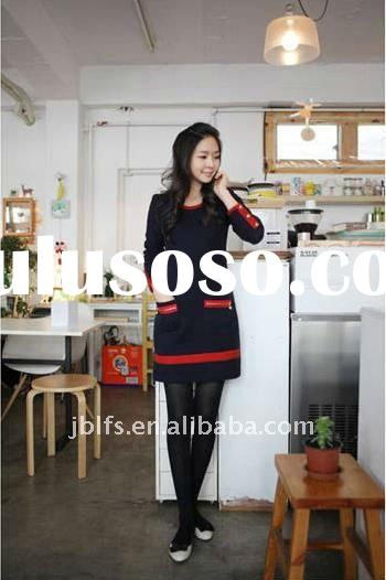 korean new style casual long sleeve dress