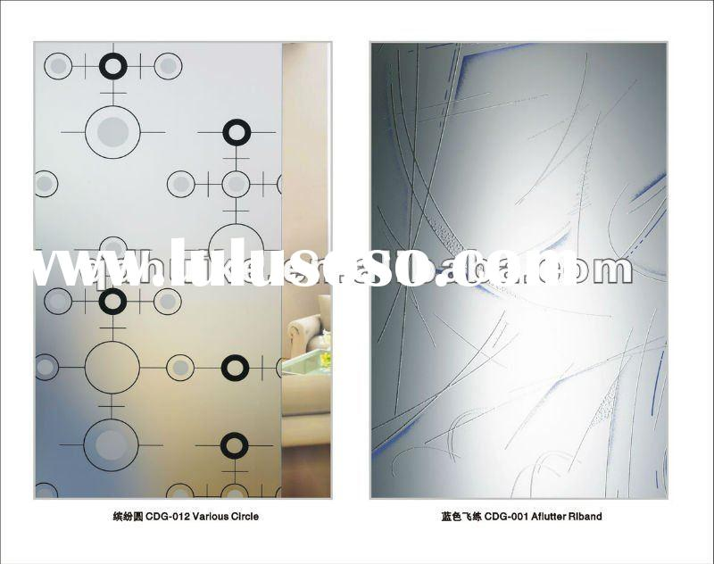 partition sliding door/interior door patterned glass for decoration