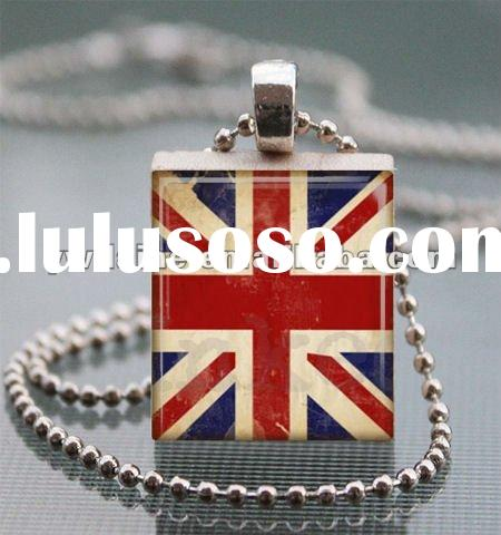 popular blue and red enamel with ball chain epoxy union jack flag accent necklace NC1064