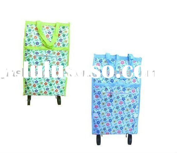 pp woven folding shopping bag with wheels