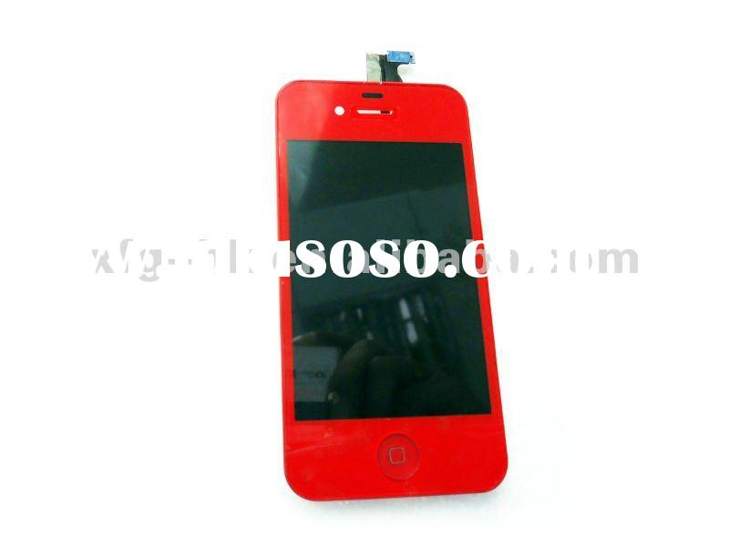 red color mobile phone front digitizer cover assembly LCD+touch screen+home button+framework for iph