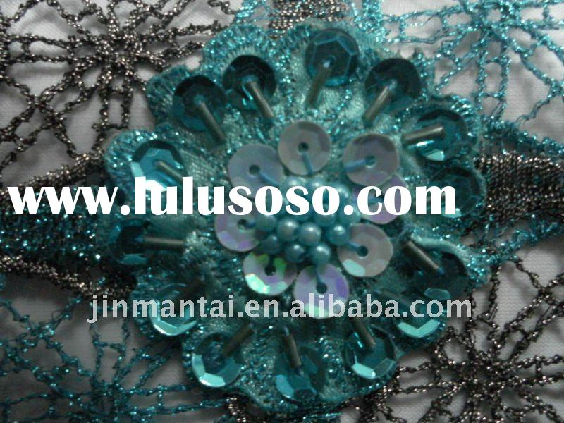 sequin embroidery on mesh fabric/handwork spangle embroidery on mesh fabric/clothes fabric