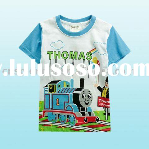 thomas and trains cartoon cut short 100% combed cotton baby t shirt