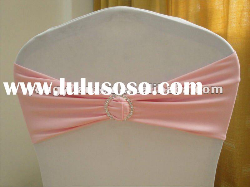 wedding baby pink spandex chair band with diamond buckle/spandex chair cover sash/lycra chair bow