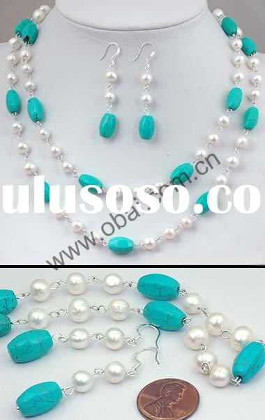 wholesale fashion pearl with the turquoise jewelry sets