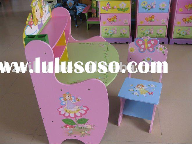 wooden children study table and stool kid furniture
