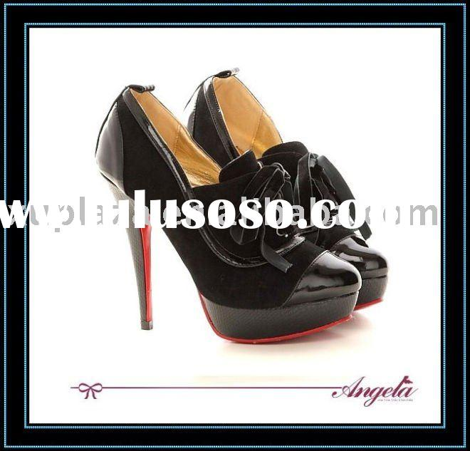 2012 Classic Design Lace up Black Women Shoes Faux Suede High heel Fashion Dress shoes Red sole Shoe