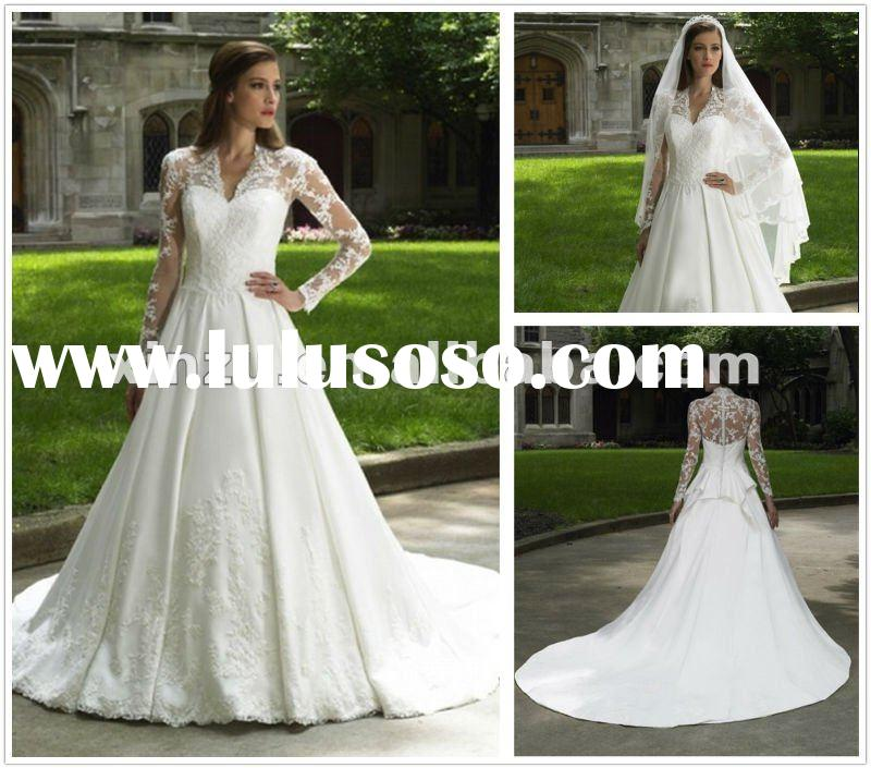 2012 Conservative Classic Sweetheart Neckline Lace Court Train Long Sleeve Wedding Dresses--WD1200