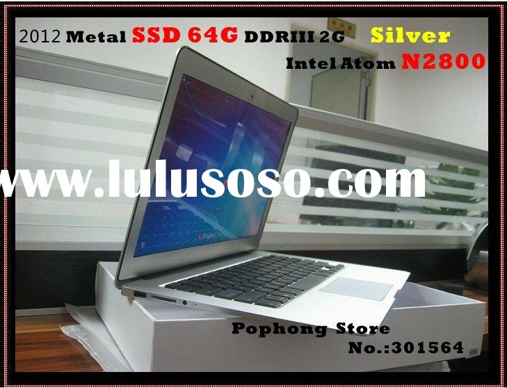 2012 Ultra thin Metal 13.3 inch mini laptop computer 64G SSD Intel Atom N2800 Dual Core 1.83G window