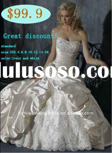 2012 big discount ! In stock! sweetheart satin ball gown embroidered delicate vintages wedding dress