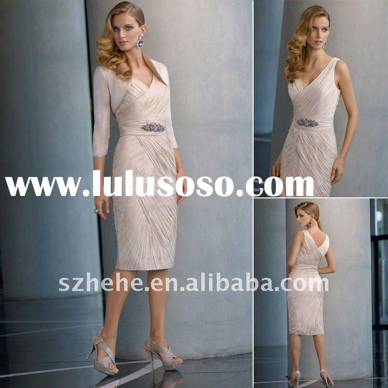 Fashion v neck light pink short mother of the bride jacket dress