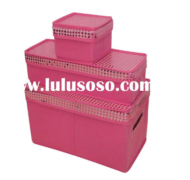 Large sets of Nonwoven Pink foldable storage boxes with lid