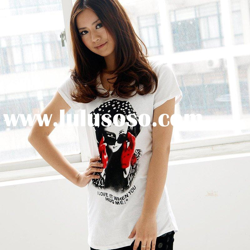 Newest ladies t shirt, fashion Portrait patterns t shirt , cotton cute shirt [cc2702]