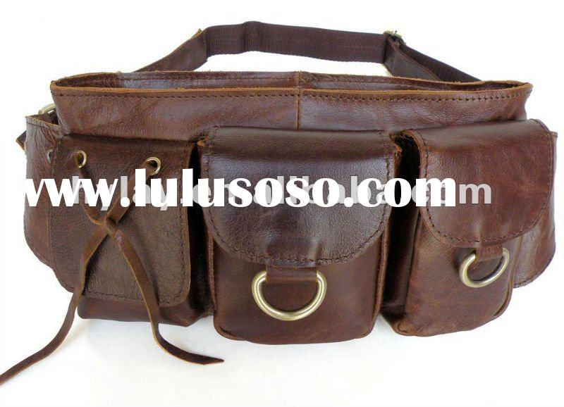 Stylish dark brown PU leather fanny bag