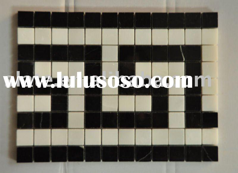 black and white marble mosaic tile