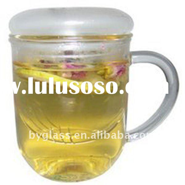crystal borosilicate glass tea cup with filter and silicon lid