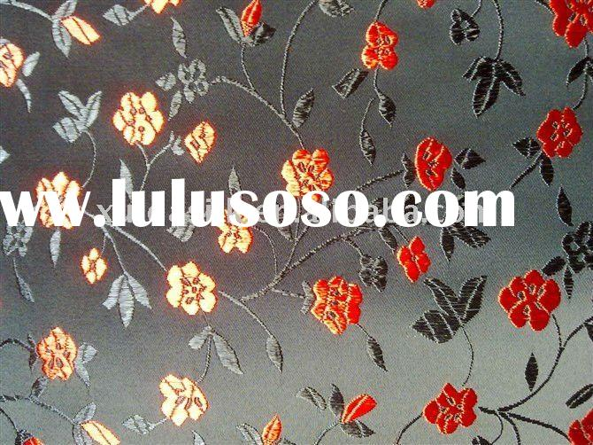 silk satin brocade fabric with plum flower design